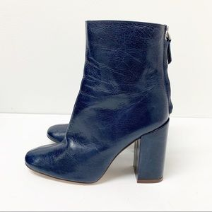ZARA collection Blue Leather Boots Size 37 US 6.5